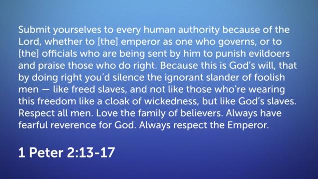 1 Peter 2 (13-17)